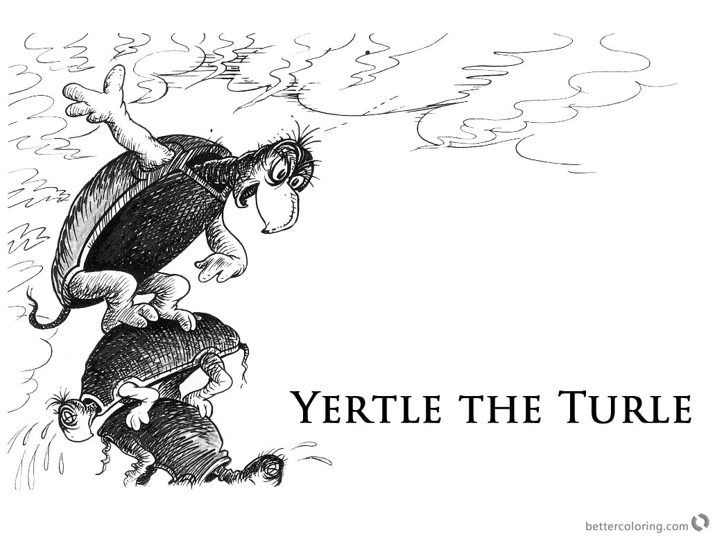 Dr Seuss Yertle the Turtle Coloring Page Fan Drawing printable