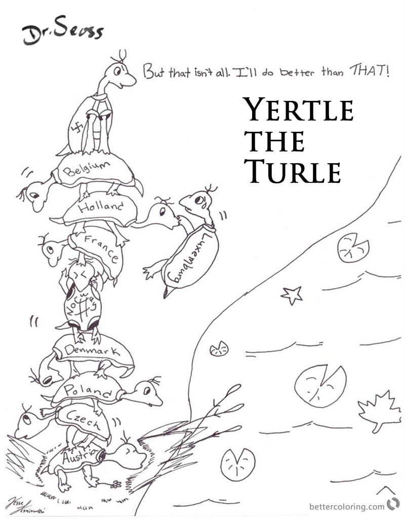Dr Seuss Yertle the Turtle Coloring Page Lineart printable