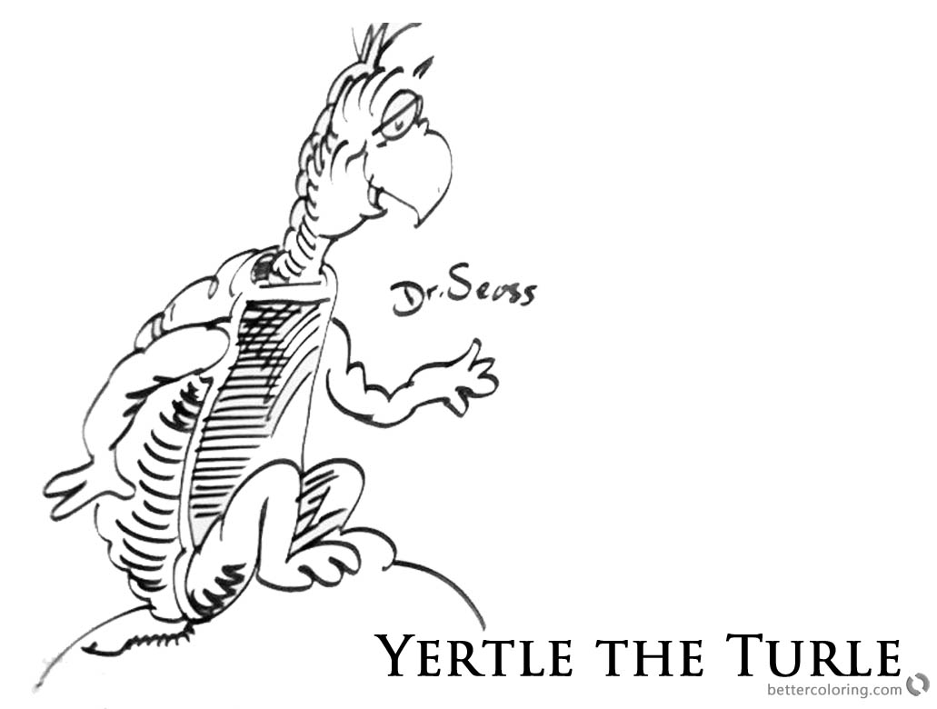 Dr Seuss Yertle the Turtle Coloring Page Sitting on a Rock - Free ...