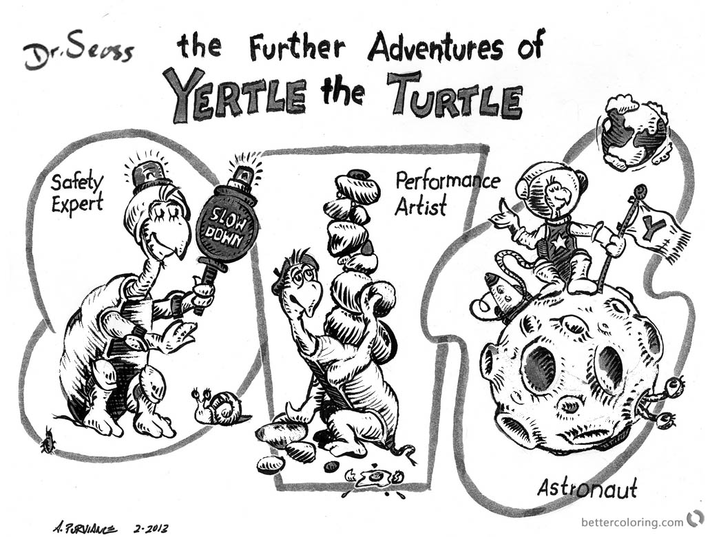 Dr Seuss Yertle the Turtle Coloring Page the further adventures printable