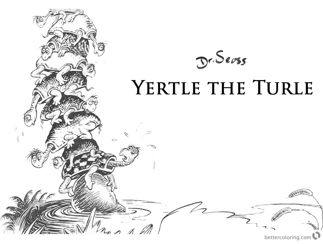 Dr Seuss Yertle the Turtle Coloring Page printable