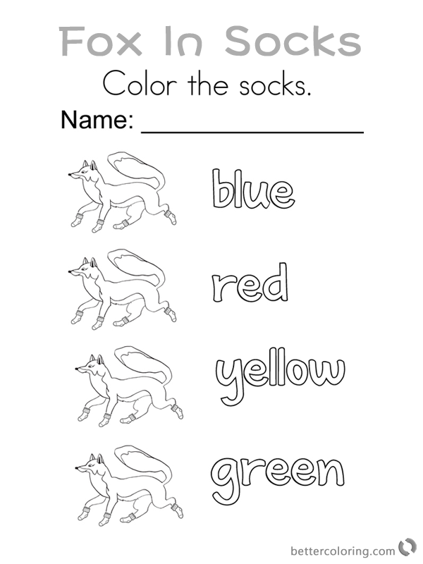 Fox in Socks by Dr Seuss Coloring Pages Color the Socks printable