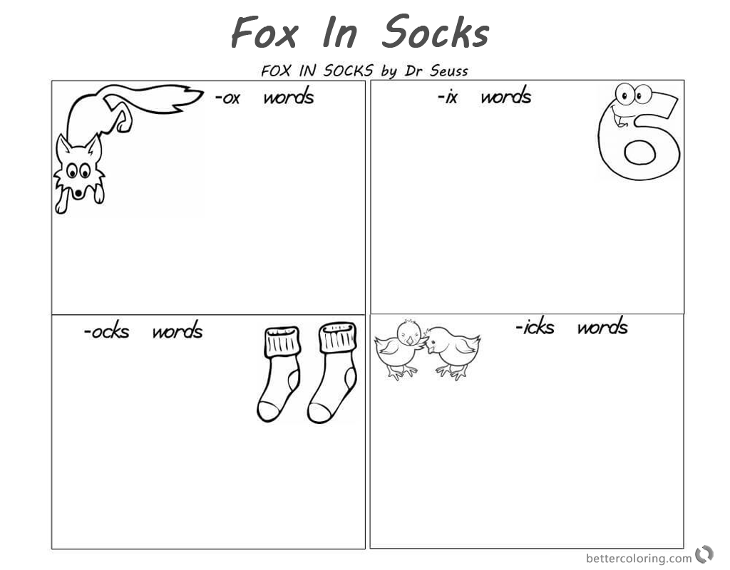 Fox in Socks by Dr Seuss Coloring Pages Reading and Rhyming - Free ...