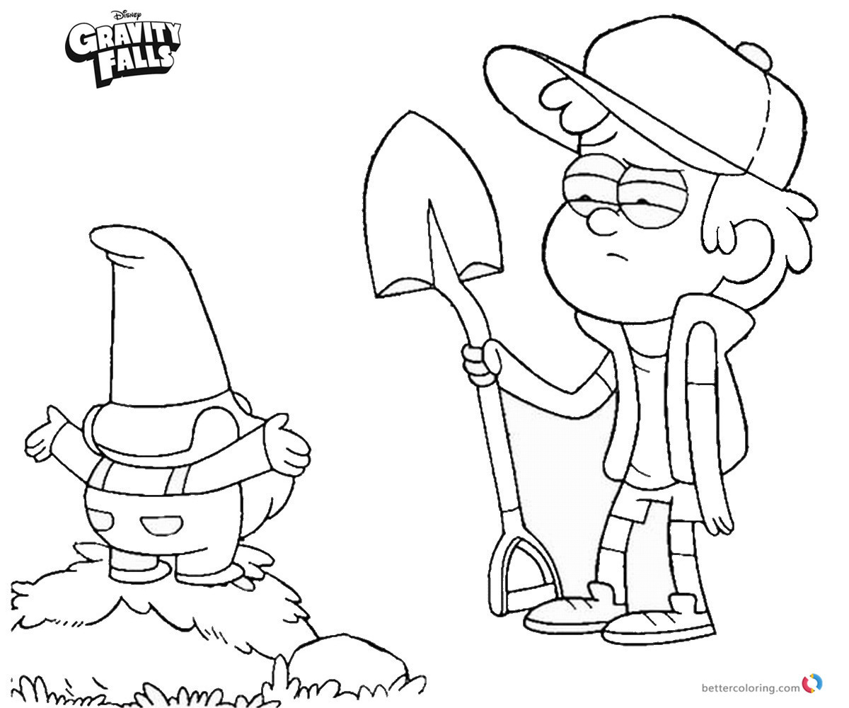 Gravity Falls Coloring Pages Dipper And Gnomes