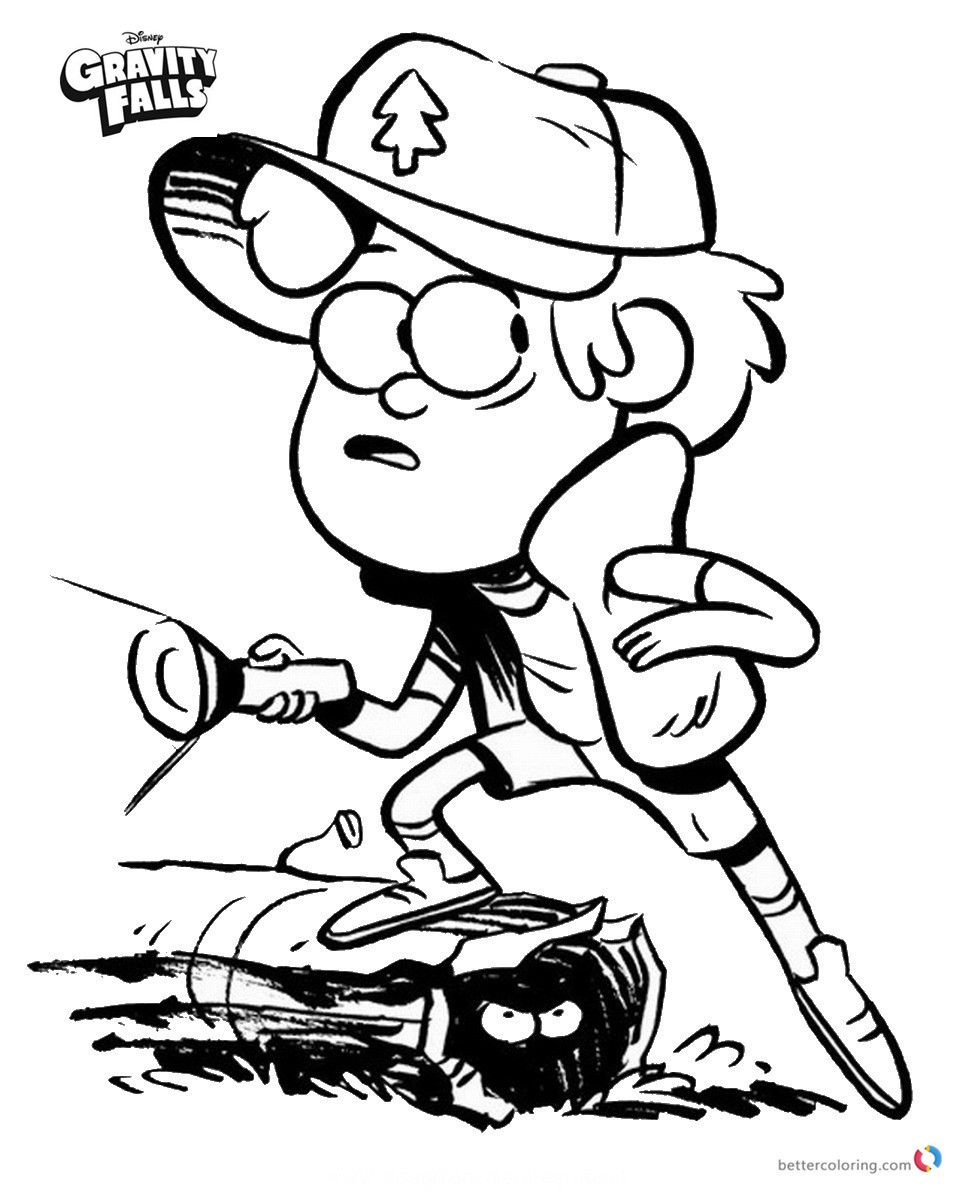 Gravity Falls coloring pages Dipper is exploring printable