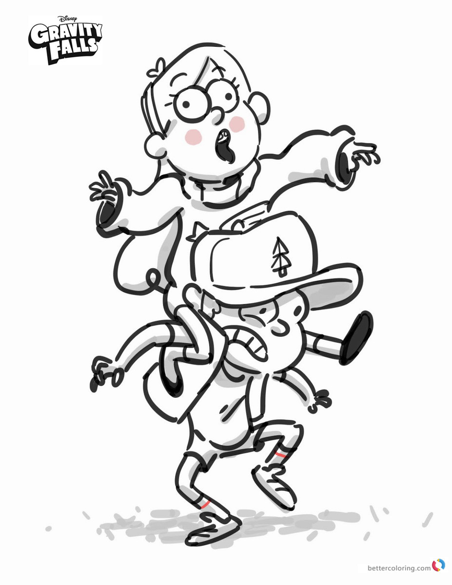 Gravity falls coloring pages Mabel and Dipper printable