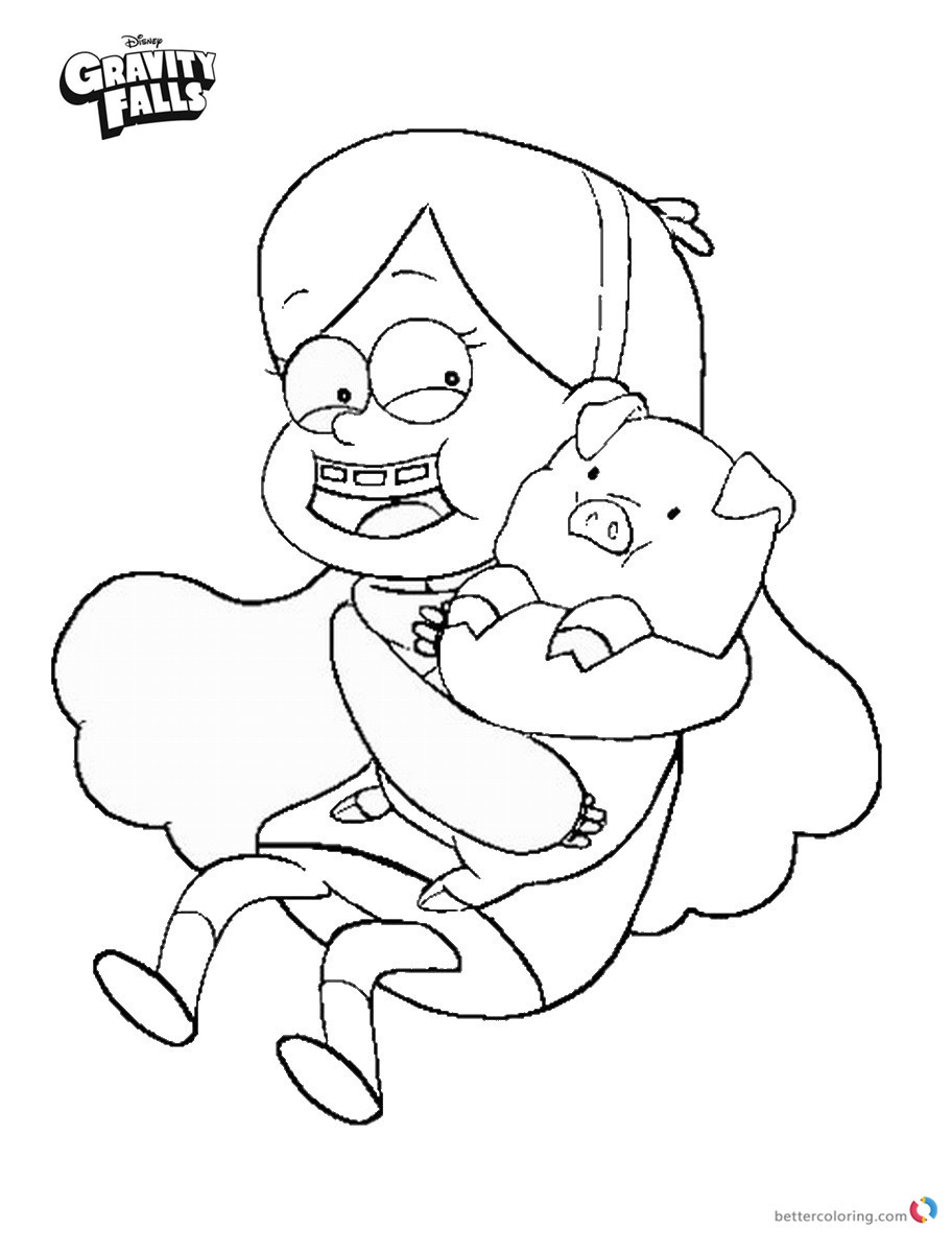 Gravity falls coloring pages Mabel and Waddles printable