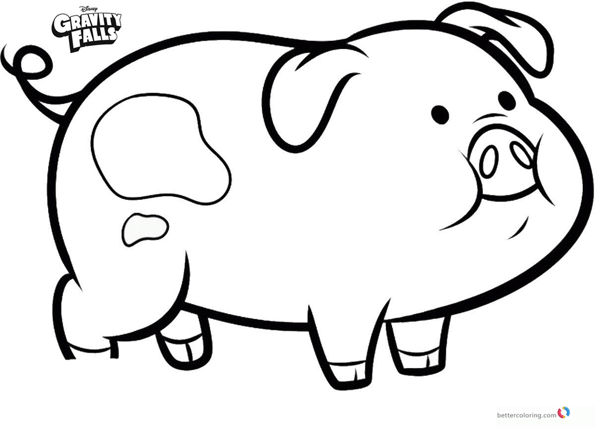 Waddles the pig gravity falls free coloring pages for Coloring pages of a pig