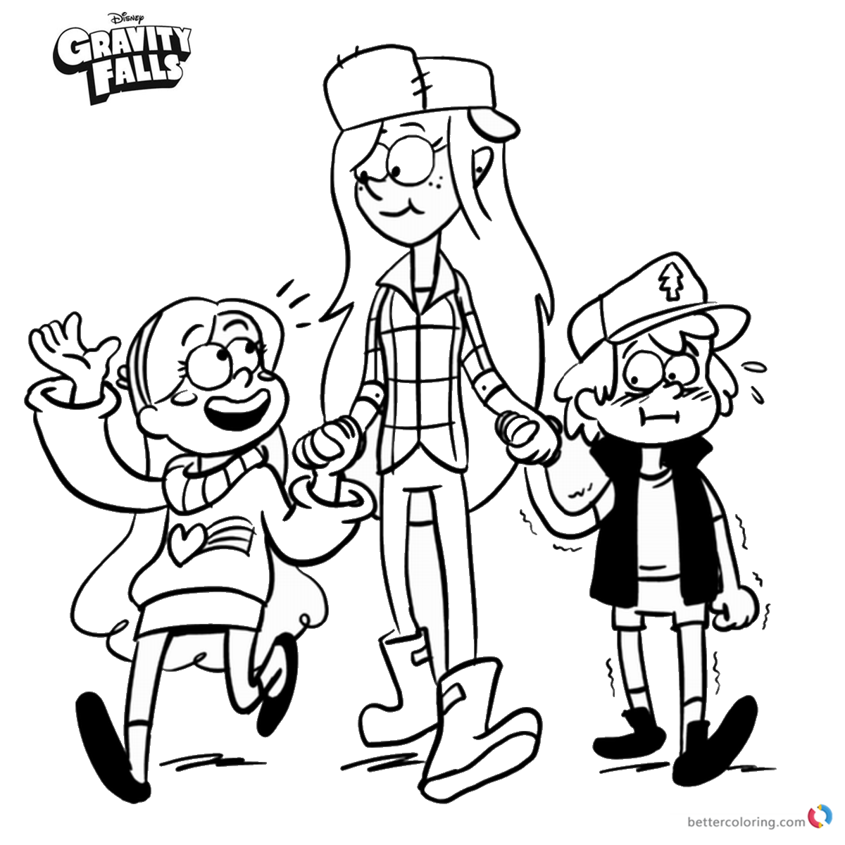 Gravity Falls coloring pages Wendy Mabel and Dipper printable