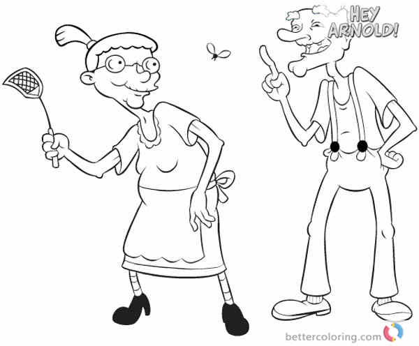 Hey Arnold Coloring Pages Grandma Pookie and Grandpa Phil printable