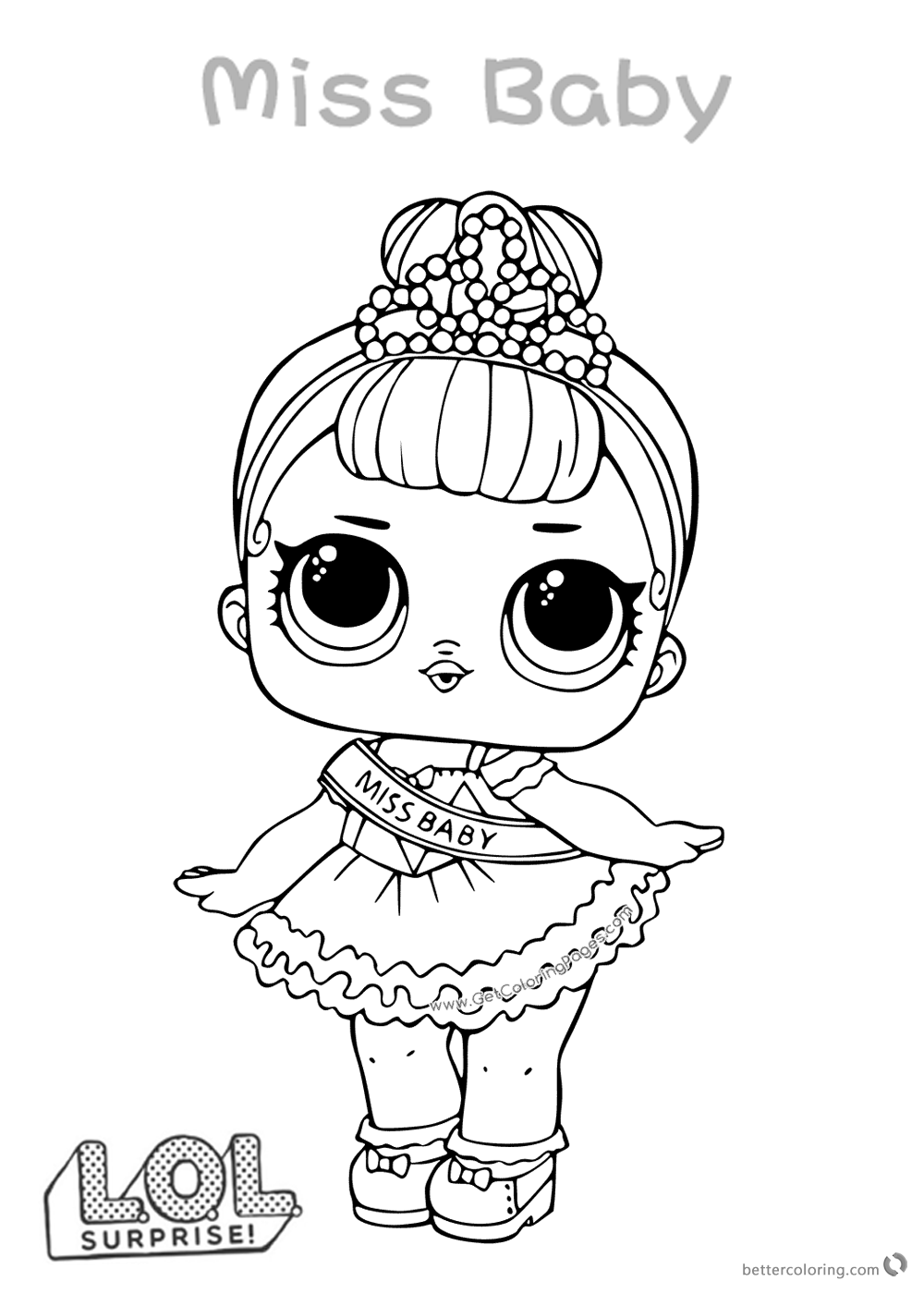 Lol Surprise Doll Coloring Pages Miss Baby Free Printable Coloring