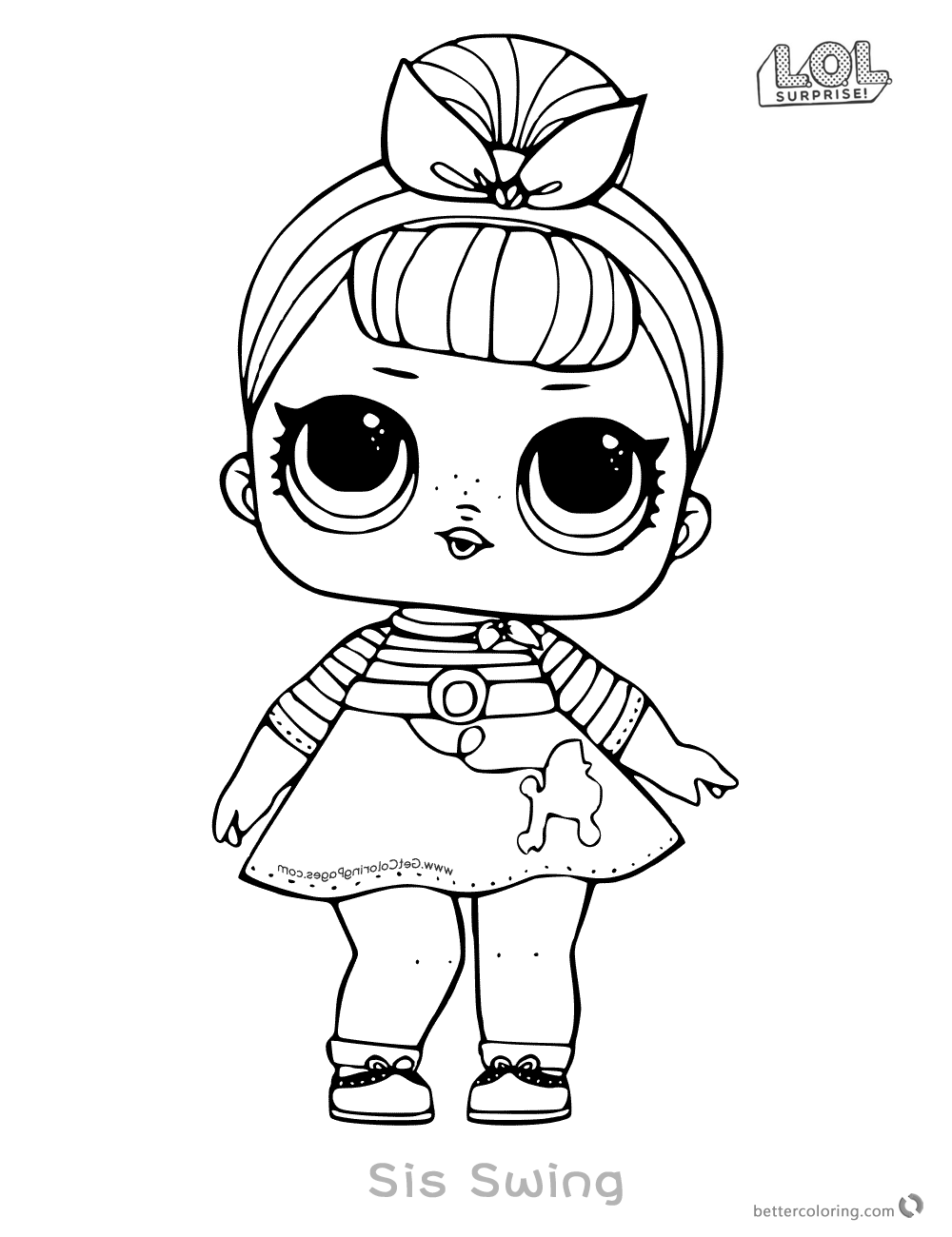 lol doll coloring pages sis swing free