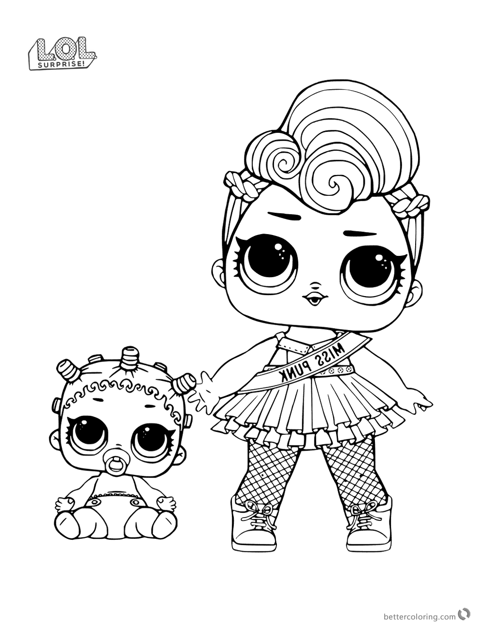Miss Punk LOL Surprise Doll Coloring Pages Free