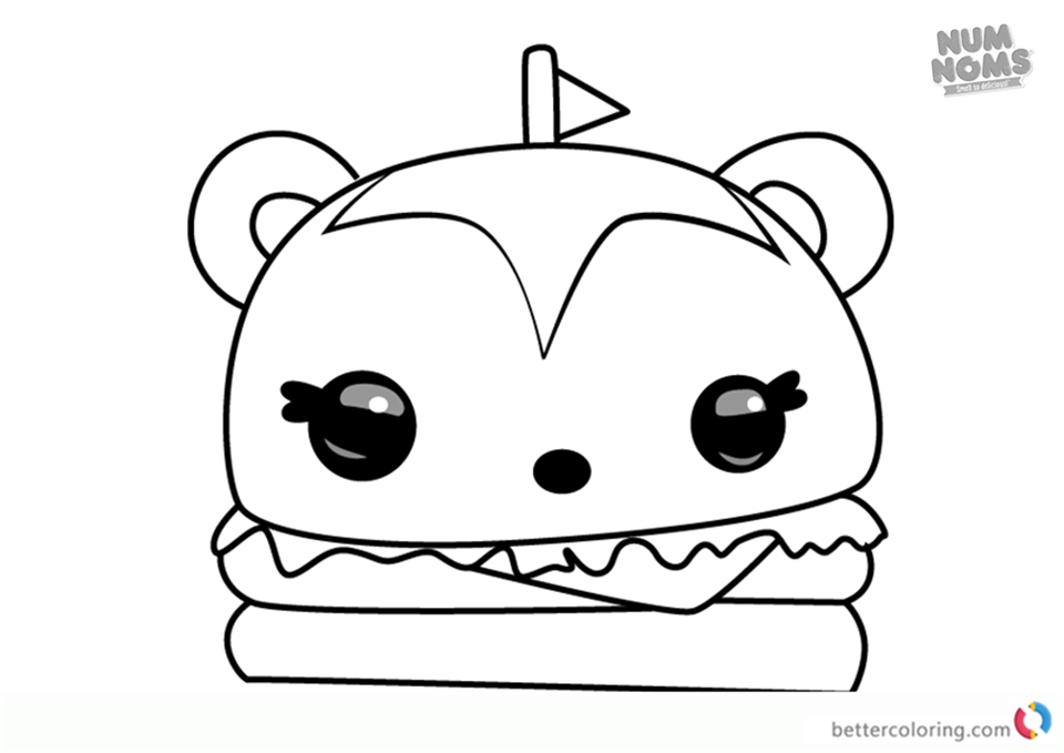 burger coloring page - num noms coloring pages series 2 hammy burger free