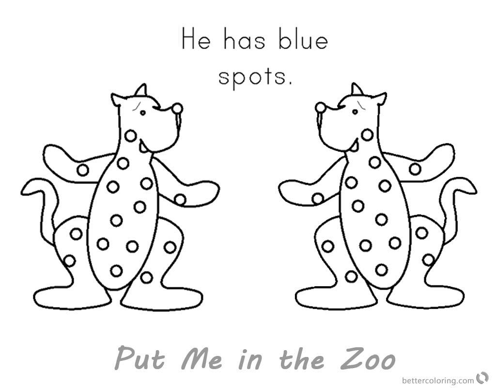 Put Me in the Zoo Coloring Pages Blue Spots printable