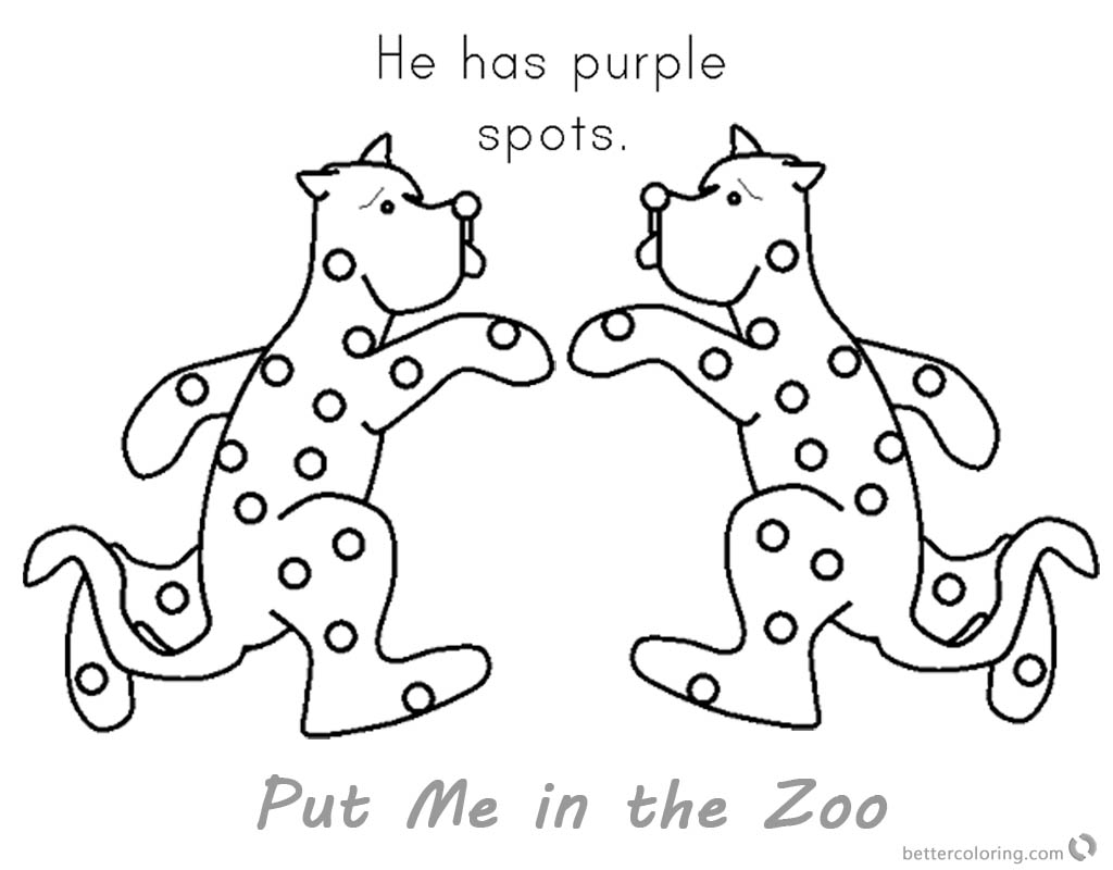Put me in the zoo coloring pages purple spots free for Zoo coloring pages printable