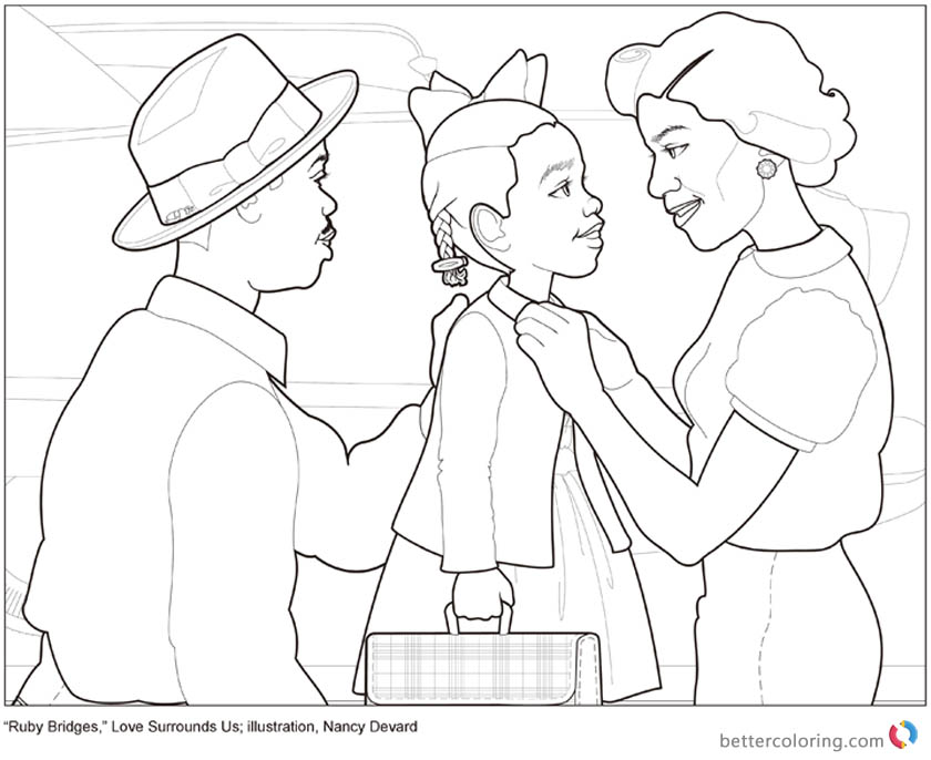 Ruby Bridges Coloring Page Love Surrounds Us printable