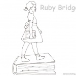 Ruby Bridges Coloring page Goes to School with book