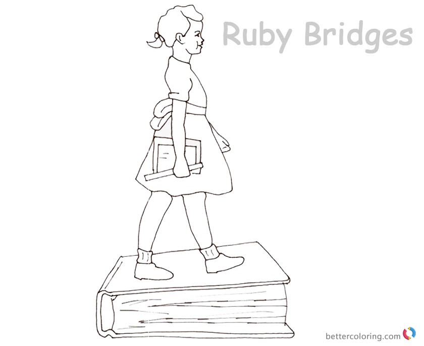 Ruby Bridges Coloring Page Goes To School With Book Free