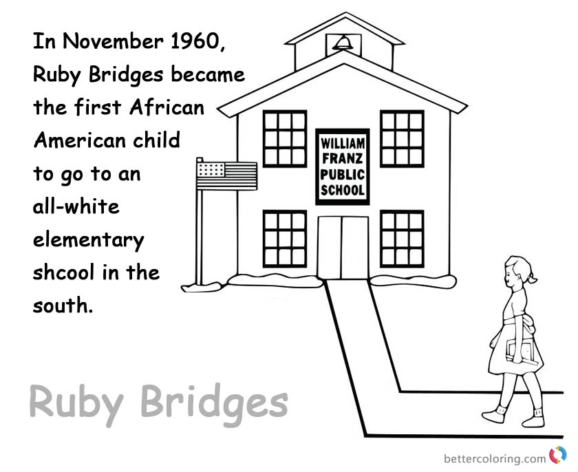 Ruby Bridges Coloring page Kids Lesson Activities - Free Printable ...