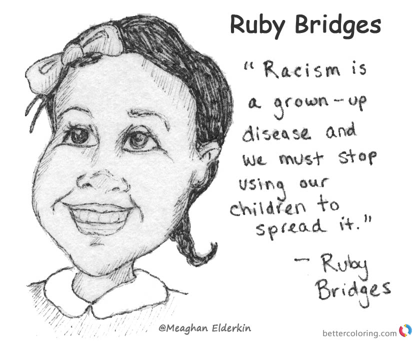 Ruby Bridges Coloring page for Kids Lesson Activities printable