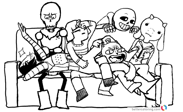 Undertale coloring pages draw the squad by mehplox printable
