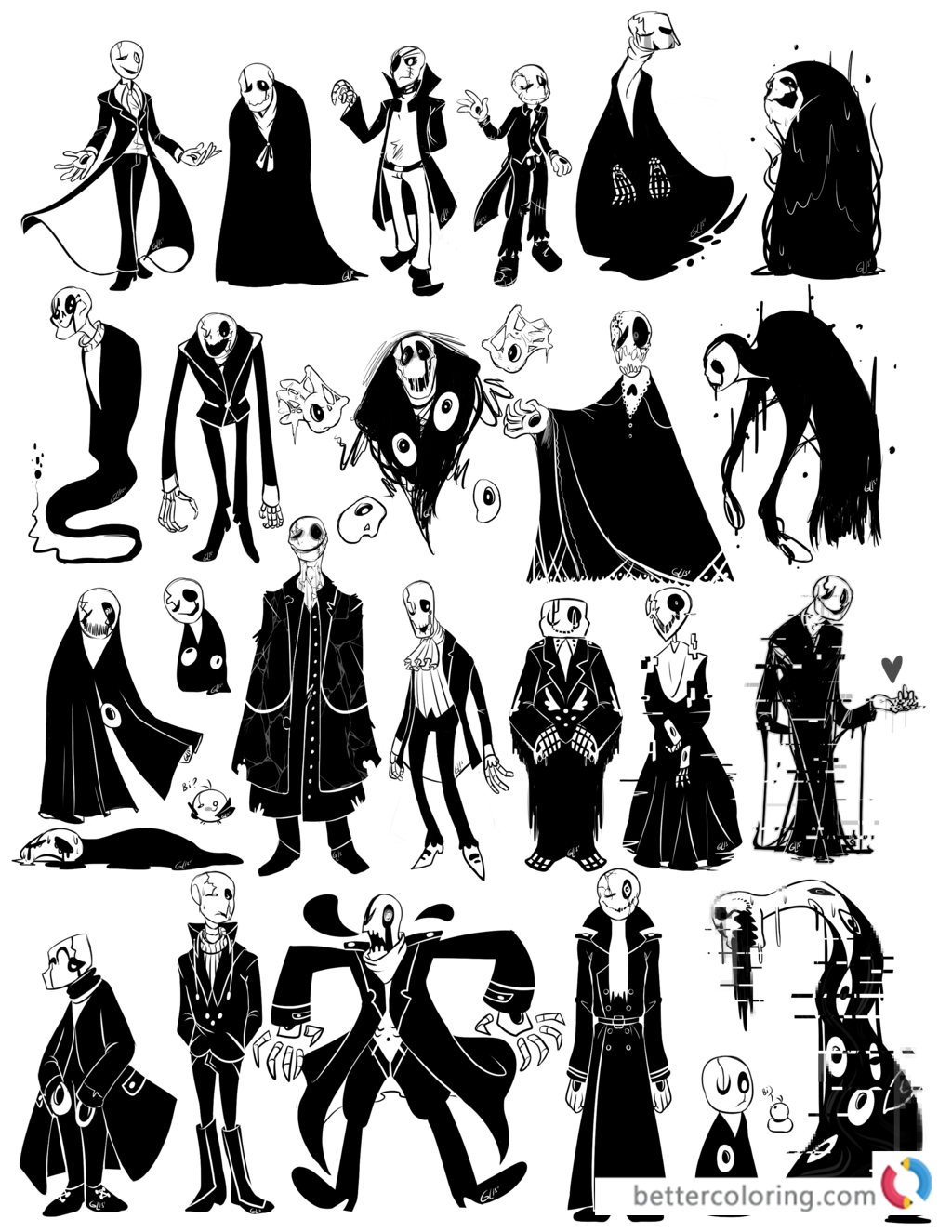 Undertale coloring pages gaster by whatifgirl printable