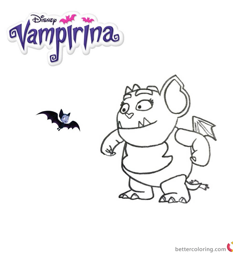 Vampirina coloring pages Gregoria and bat - Free Printable Coloring ...