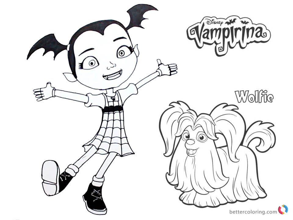 Vampirina coloring pages Vampirina and Wolfie Free