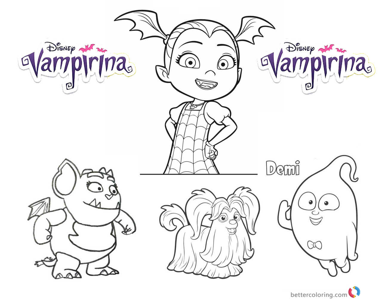 vampirina coloring pages vampirina and cute characters free printable coloring pages - Vampirina Coloring Pages