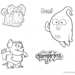 Vampirina coloring pages Wolfie Demi and Gregoria