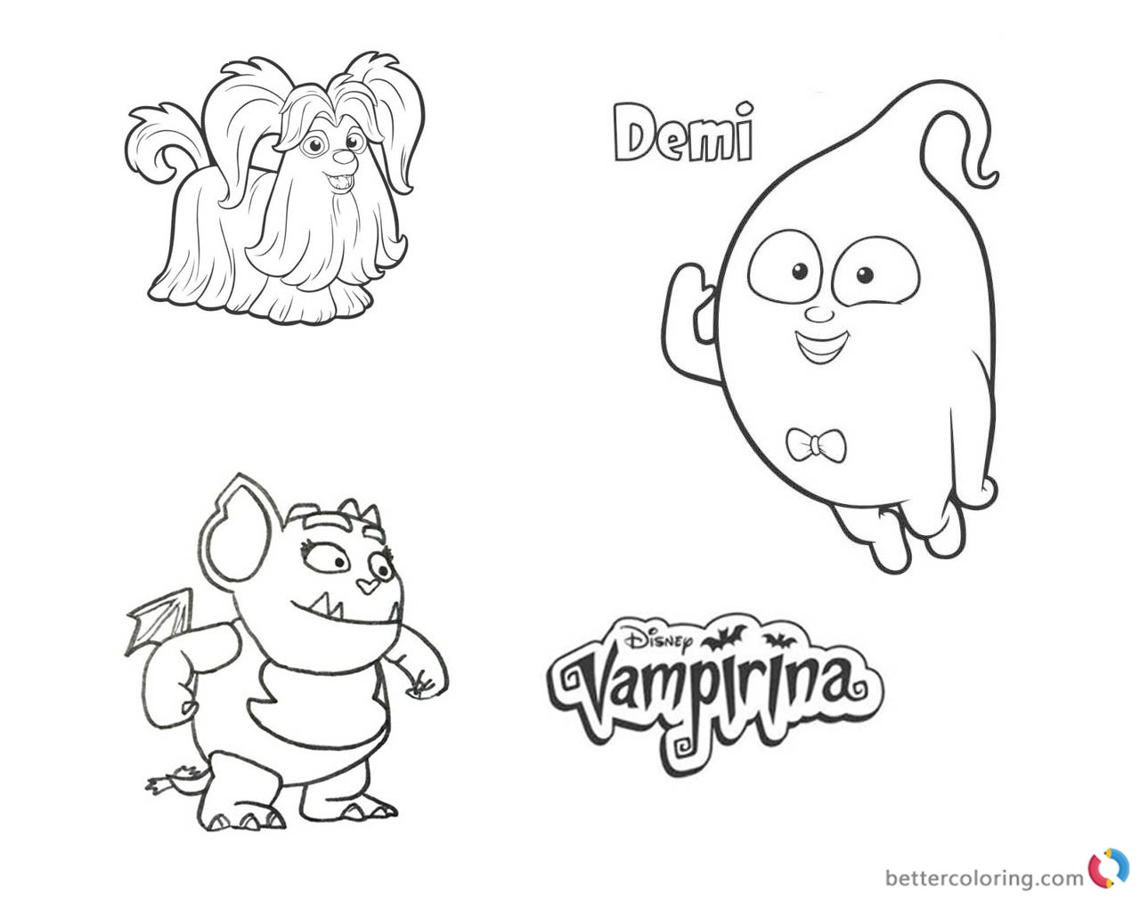 Vampirina coloring pages Wolfie Demi and Gregoria printable