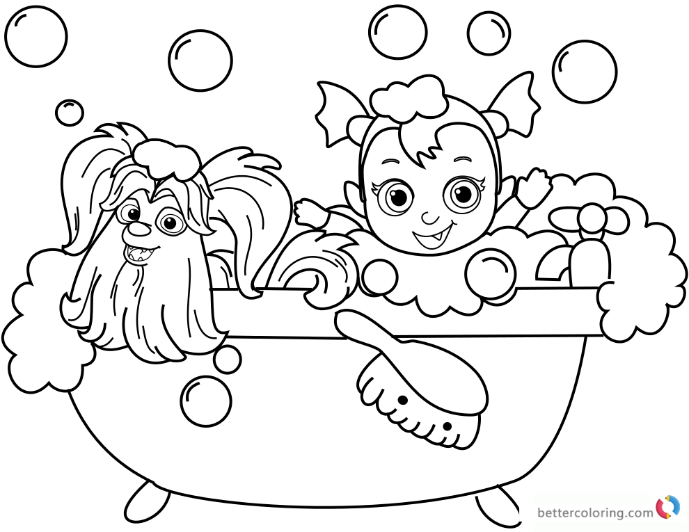 Vampirina coloring pages bathing with Wolfie printable