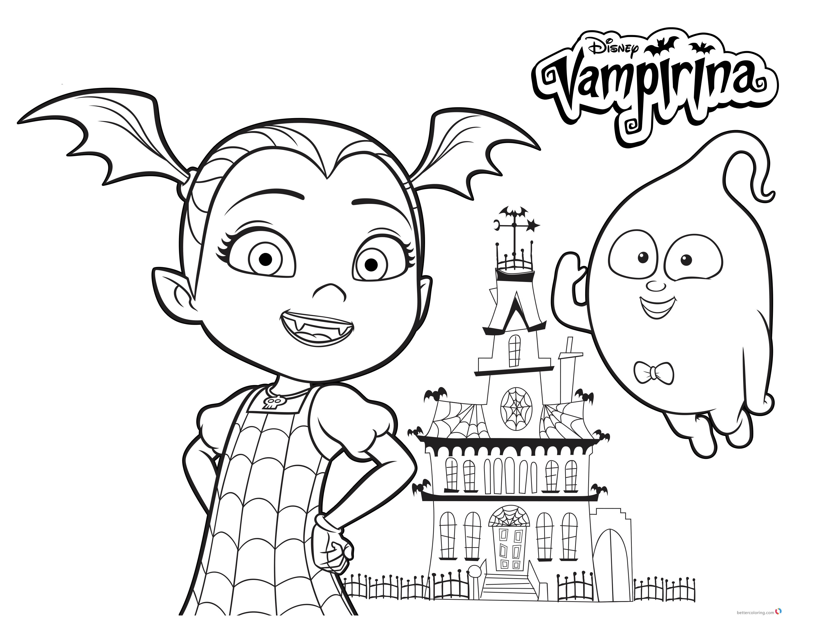 Vampirina coloring pages with Demi printable