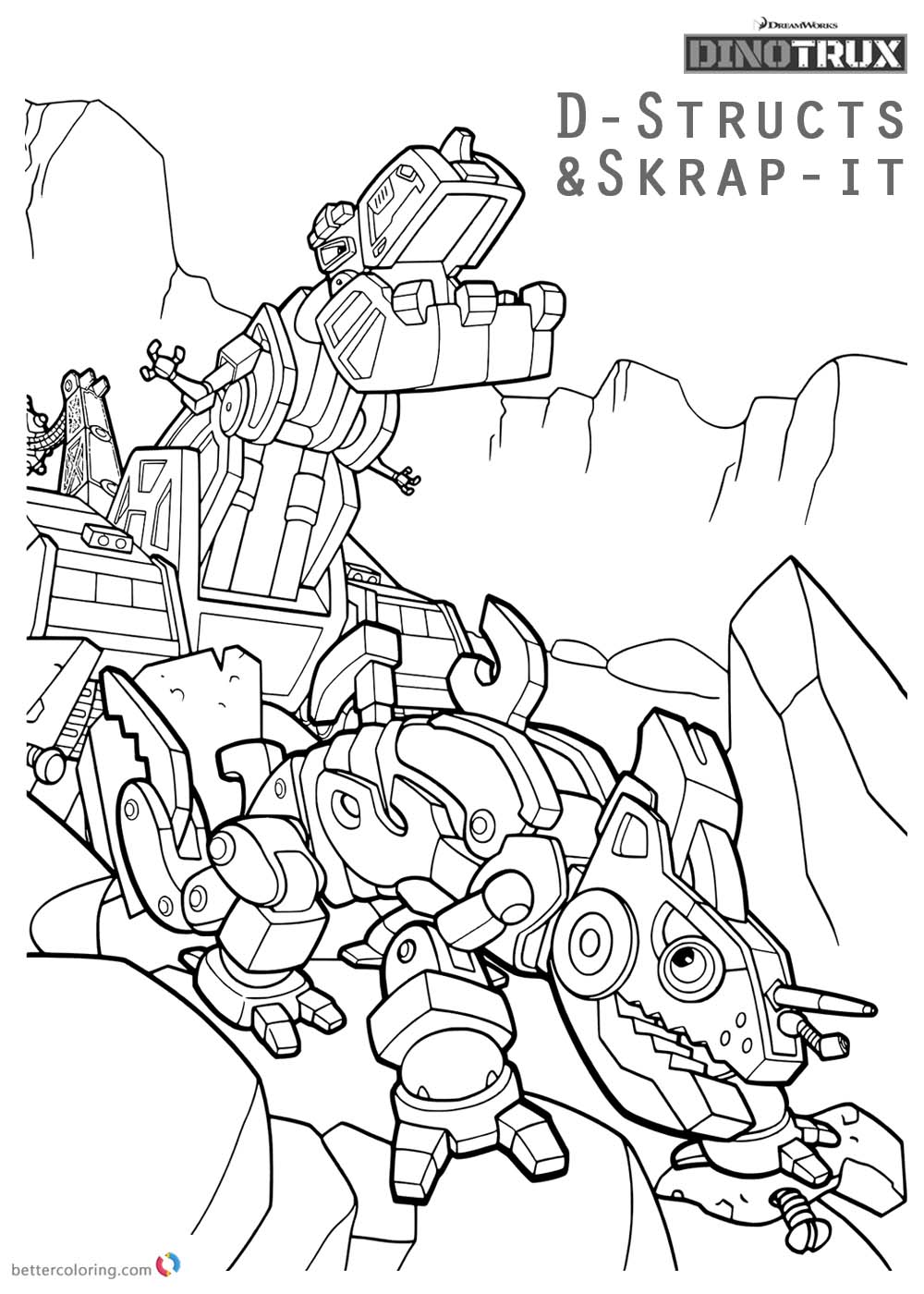 Dinotrux coloring pages D-Structs and Skrap-it printable