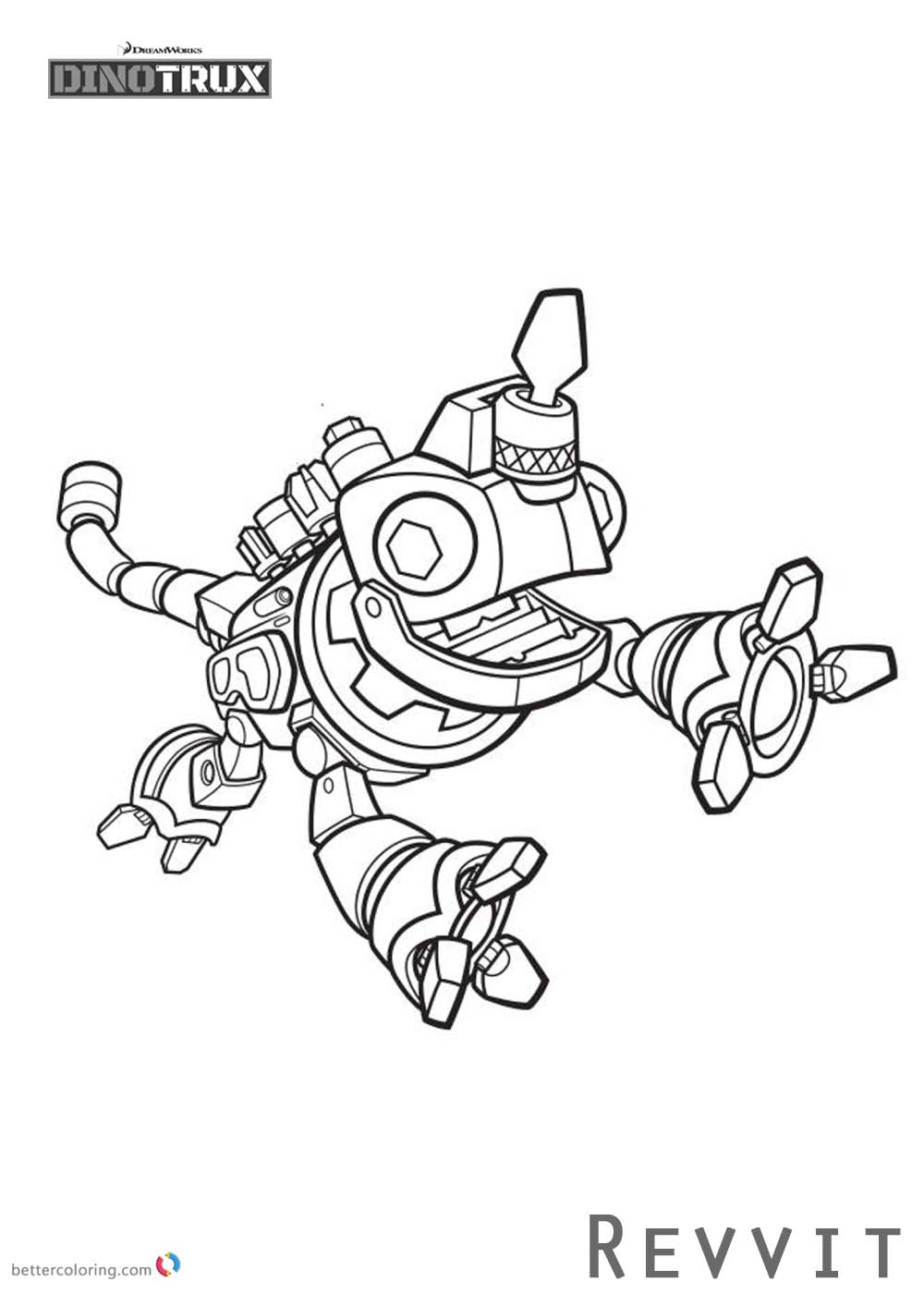 Dinotrux Coloring Pages Revvit Is Jumpping Free Printable Coloring