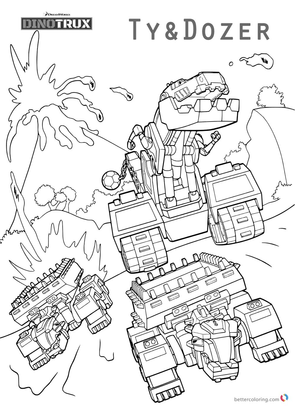 Dinotrux coloring pages Ty and Dozer printable