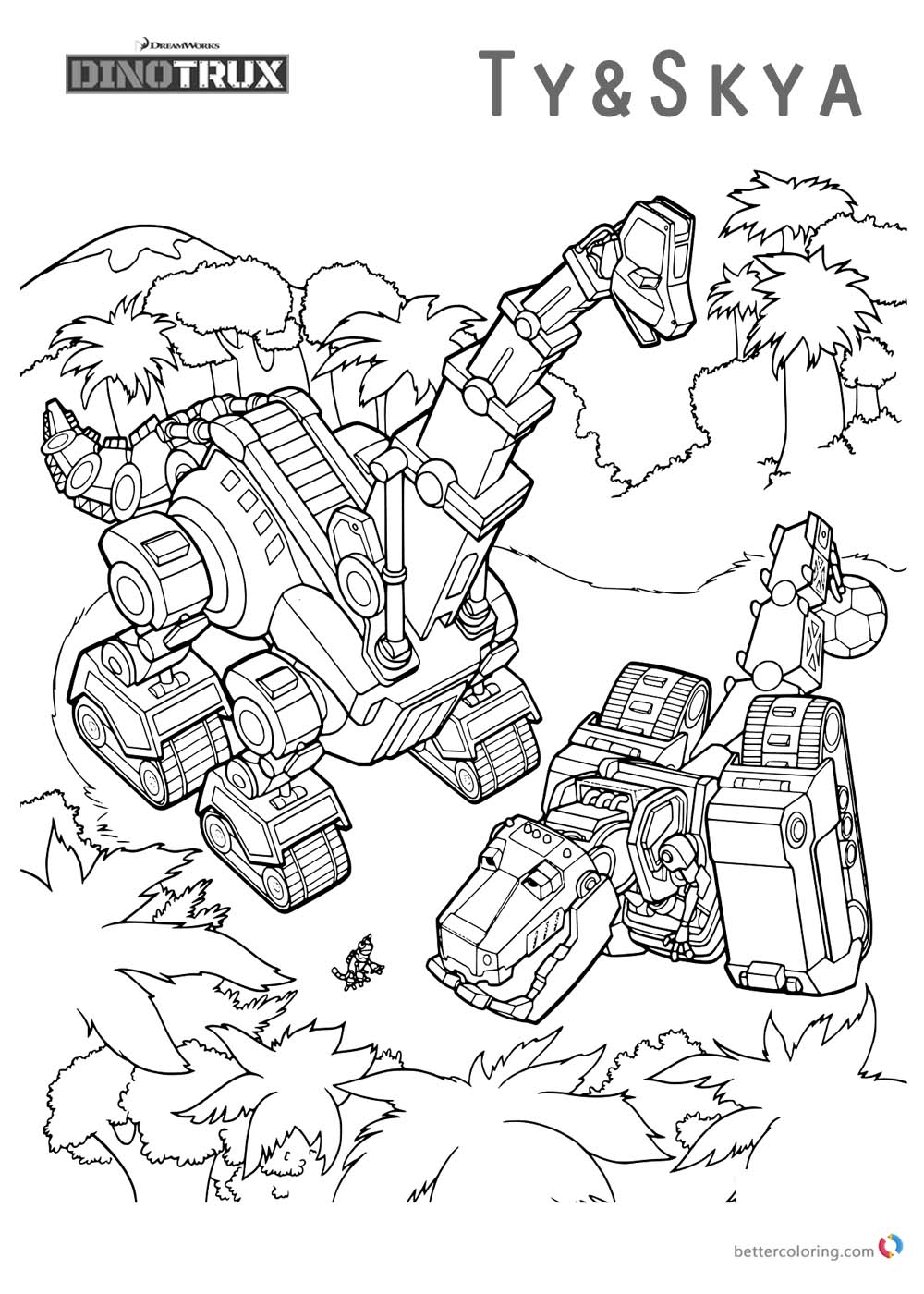 Dinotrux coloring pages Ty and Skya printable