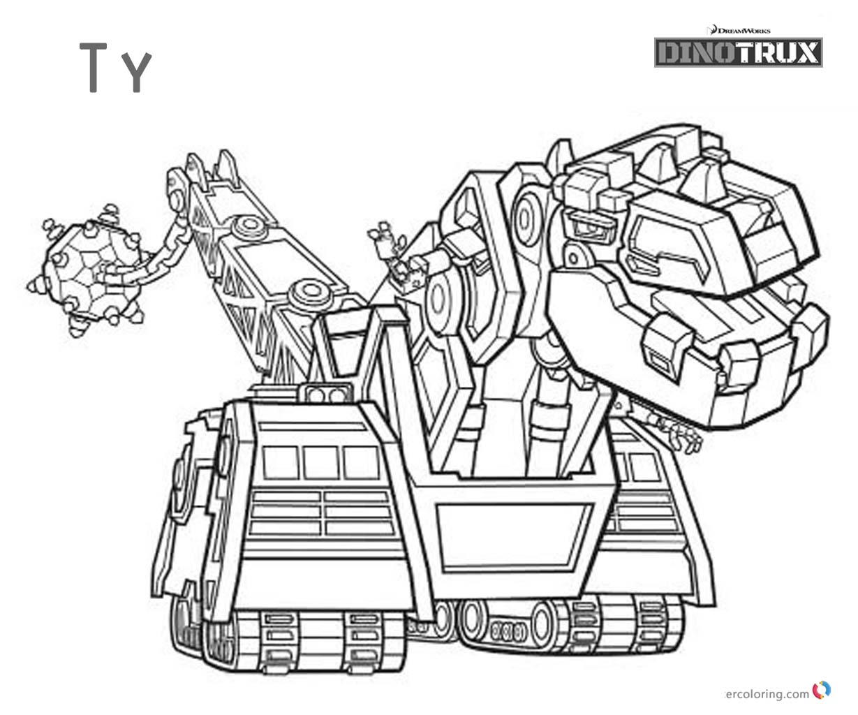 Dinotrux coloring pages Ty black and white - Free ...