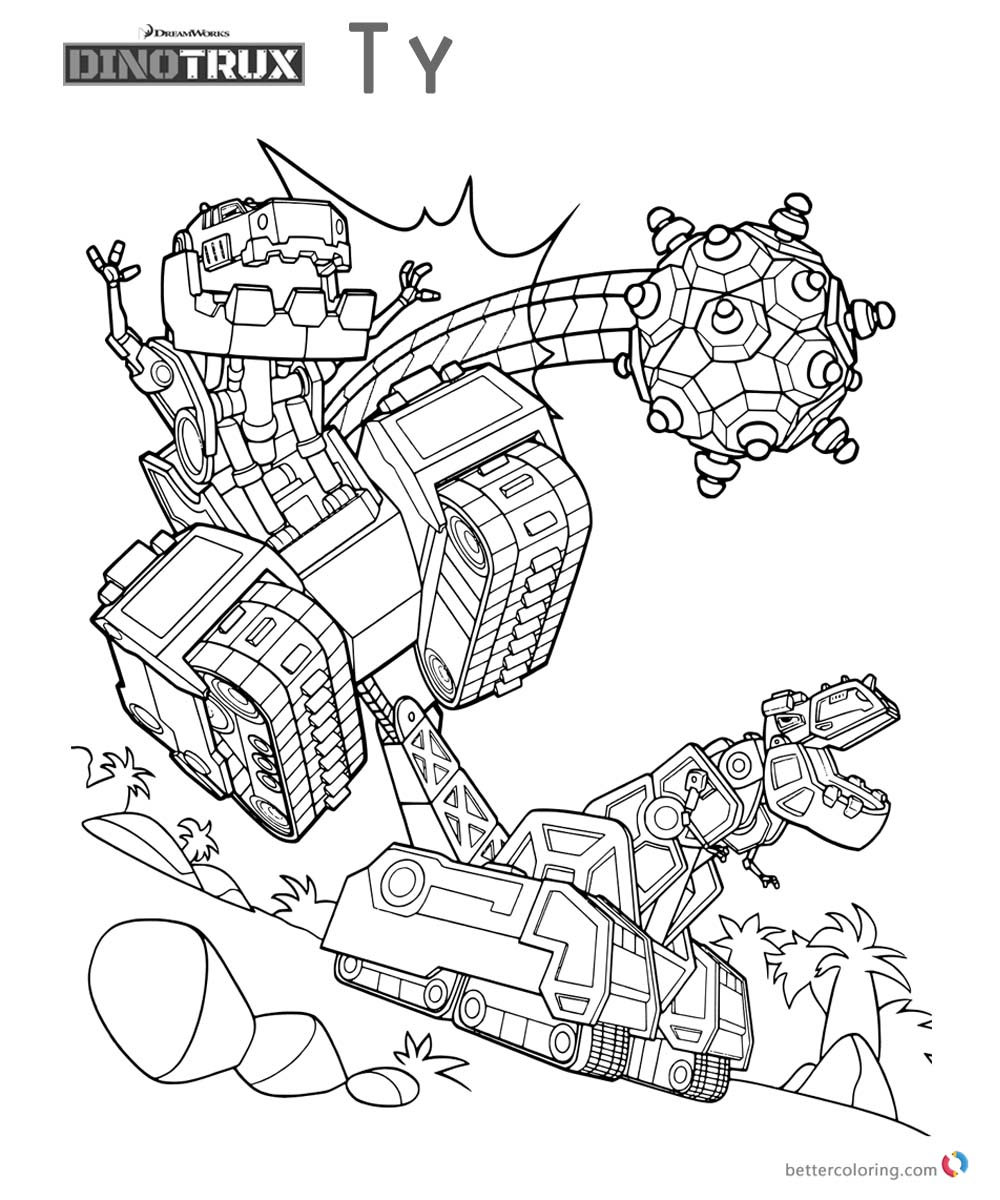 Dinotrux ty coloring pages run to work free printable for Dinotrux coloring pages