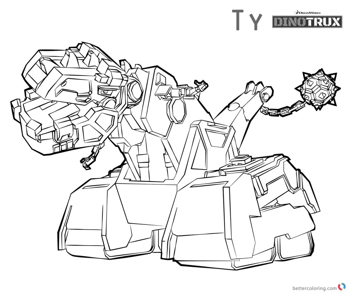 Kleurplaten Dino Trucks.Dinotrux Coloring Pages Ty Lineart Free Printable Coloring Pages