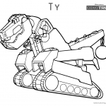 Dinotrux coloring pages Ty running