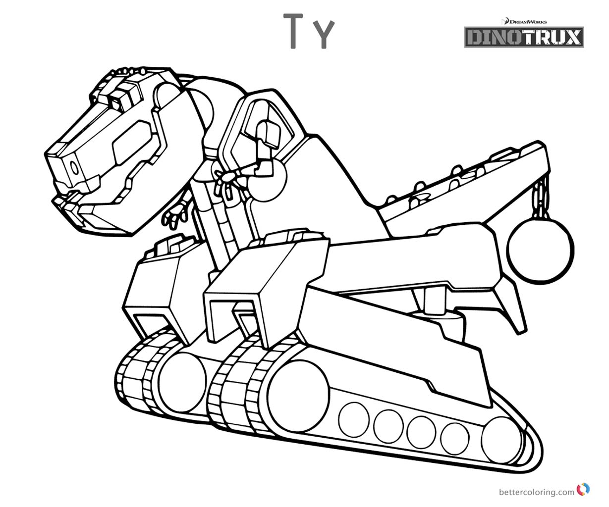 Dinotrux coloring pages Ty running printable