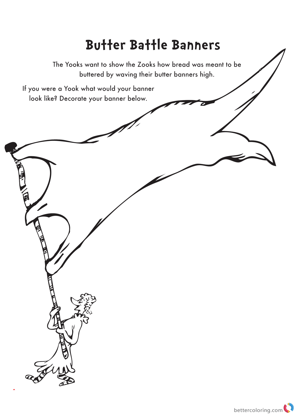 Dr Seuss coloring pages BUTTER Banner printable
