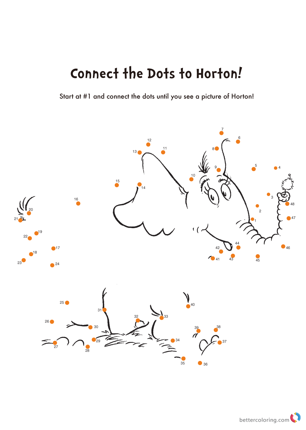 Dr Seuss coloring pages HORTON Connect The Dots Free