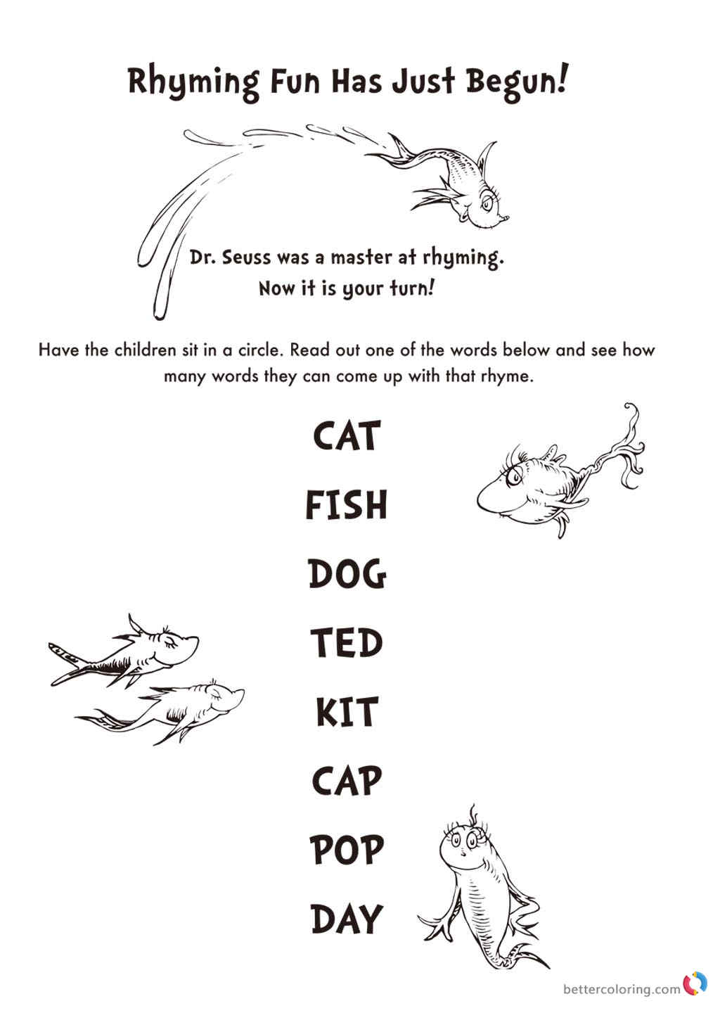 Dr Seuss coloring pages Rhyming
