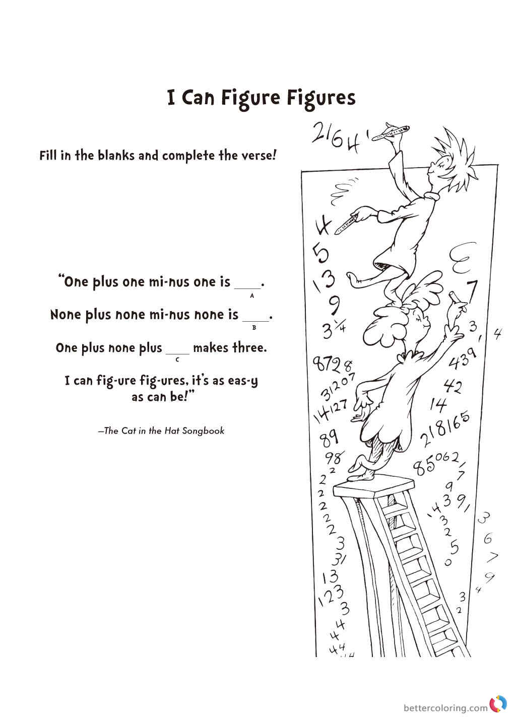 Dr Seuss coloring pages SONG BOOK I Can Figure printable
