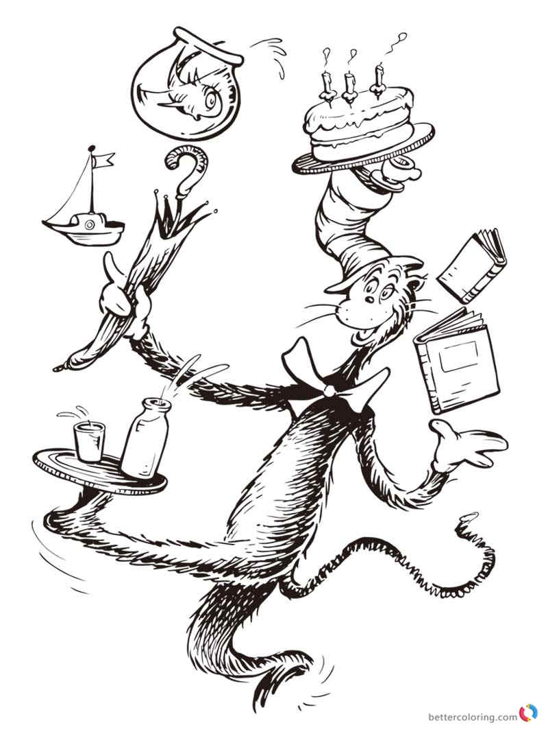Dr seuss coloring pages cat in the hat free printable for Dr seuss character coloring pages