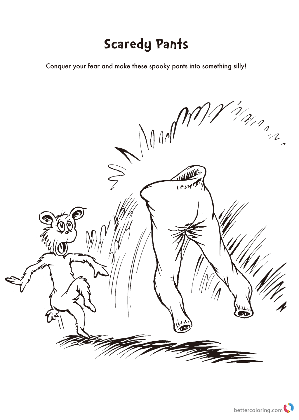 Dr Seuss Coloring Pages Scaredy Pants
