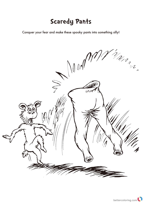 Dr Seuss coloring pages scaredy pants printable
